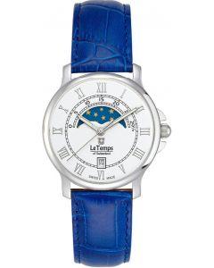 Le Temps of Switzerland Damenuhr, Mondphase und 4 Armband Farben Ø 35 mm