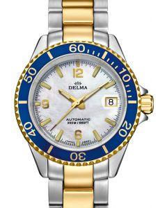 DELMA - Santiago - Damenuhr Automatik, bicolor weiß-blau - Ø 37 mm