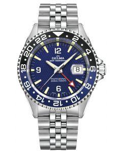 DELMA - Schweizer Sportuhr - Herrenuhr GMT Meridian blau - Ø 43 mm