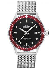 """DELMA - Schweizer Herrenuhr """"CAYMAN"""" schwarz, Ø 42 mm"""