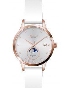 Atlantic - Damenuhr Elegance Moonphase, rosé Zirkonia, Ø 32 mm