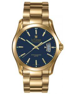 "Le Temps of Switzerland ""Sport Elegance"", vergoldet, blau - Ø 39 mm"