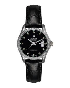 Le Temps Damenuhr, Swarovski-Kristalle, schwarz  Ø 28 mm