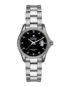 Le Temps Damenuhr, Swarovski-Kristalle, Metallband, schwarz  Ø 28 mm