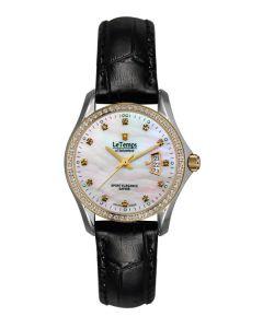 Le Temps Damenuhr, bicolor, Swarovski-Kristalle,  Ø 28 mm