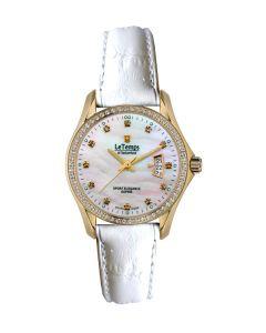 Le Temps Damenuhr, vergoldet, Swarovski-Kristalle,  Ø 28 mm